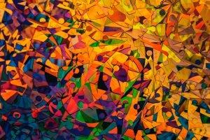 patronen doorbreken gekleurde figuren die van vorm veranderen